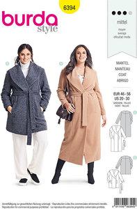 Coats with large lapels, waist band. Burda 6394.