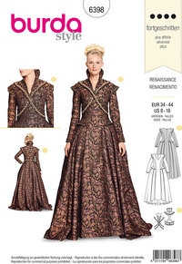 Renæssance dress, middle ages. Burda 6398.