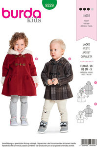 Duffle-jacket for children, kids coat. Burda 9329.