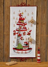 Permin 34-7255. Christmas calendar with Santa lighthouse.