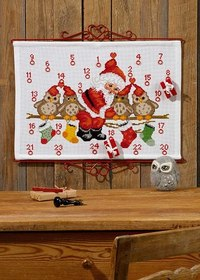Christmas calendar with owls on branch. Permin 34-7257.
