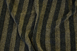 Across-striped chenille knit in black and olive-colored