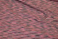 Across-striped light grey jersey with narrow neonpink stripe.