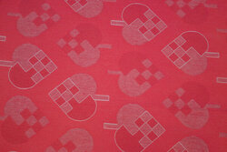 Acryllic coated textile-table-cloth with 8 cm hearts