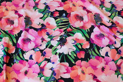 Black cotton-jersey with pink and light red flowers