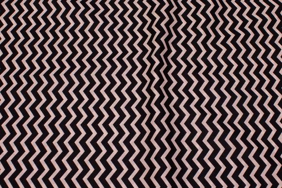 Black cotton with white zig zag stripes