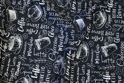 Black, firm cotton with coffee-motifs