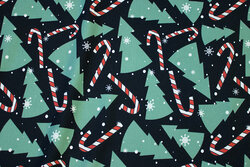 Black jersey with christmas trees and sugar canes