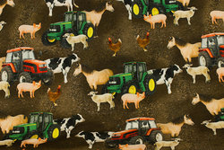 Brown cotton-jersey with tractors and farm animals