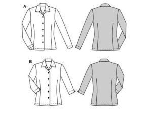 Fashionable shirt-blouse, normal width, with Waist darts and collar without collar band. View B with 3/4 sleeves and small slits.
