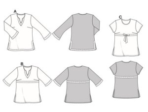Chic tunic in three fashionable versions, all with side slits. View A has long trumpet sleeves and decorative trim on the neckline as well as on the hem and slit edges. View B has flared ¾-sleeves with trim on the sleeves and front. View C has short sleeves, round neckline and tie-bands with bow.