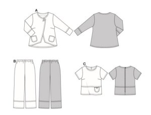 Casual A-line jacket with longer back and patch pockets. The boxy, short-sleeved top with back zipper has a decorative patch pocket on the section seam. The matching trousers/pants with elastic waist have decorative topstitching on the hems.