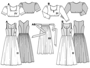 "Close-fitting ""Dirndl"" in two fabrics with apron and short blouse.