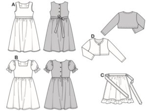 "Dresses buttoned at the back and with gathered skirts. Sleeveless dress (A) is in folklore style, with tie-band, contrasting-colour floral decoration and hem frill. Sweet dress B has puff sleeves and will turn into a traditional ""Dirndl"" when teamed with apron C. Short little jacket D in knit-fabric is practical for putting on when it gets chilly."