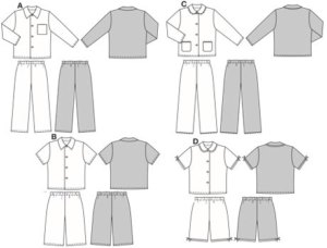 Pyjamas in normal width, with elastic waist casing on trousers/pants and button fastening/closure on jacket.