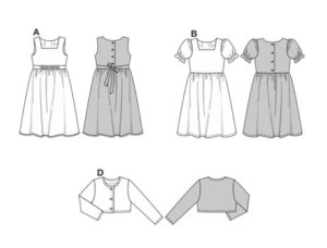 "Dress in Alpine folklore style: view A is sleeveless, view B with puffed sleeves. View C can also be worn with apron C as a ""Dirndl"".