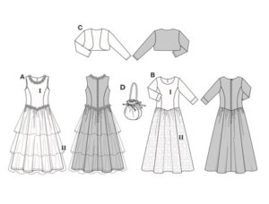 Dresses AB have close-fitting long bodices and low-set wide skirts.