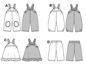 ABCD: very wide. Comfortable bibbed trousers/pants for tiny tots, some with Knee protectors, some with side elastic casing on hem of trousers/pants. Sweet bibbed skirt with ruffled hem. Simple elastic-casing trousers/pants for easy mixing and matching.