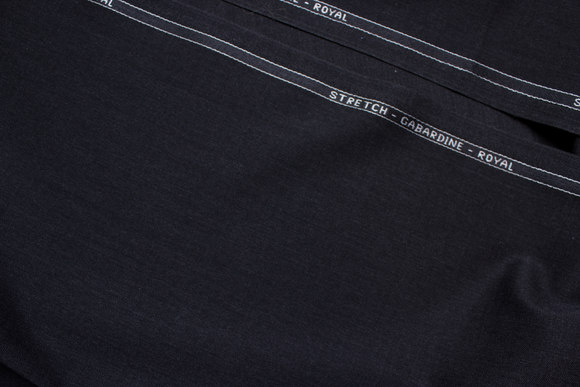 Charcoal stretch-gabardine de luxe with worsted yarns