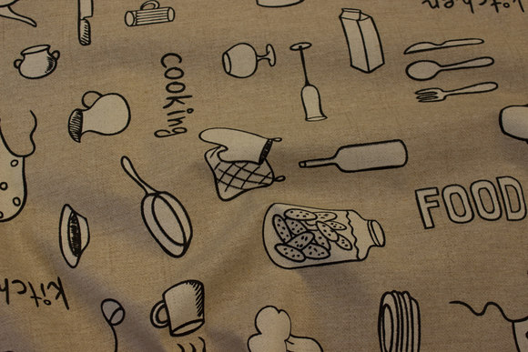 Coated textile-table-cloth with kitchen stuff