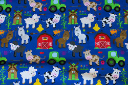 Cobolt-blue cotton-jersey with cute farm animals