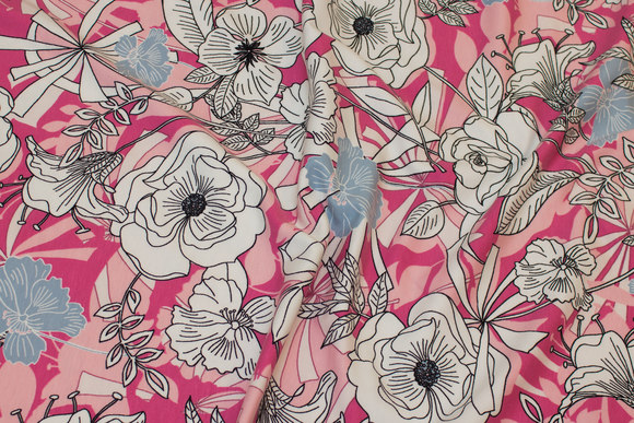 Cotton-jersey with flowers in soft red, pink, white and light blue