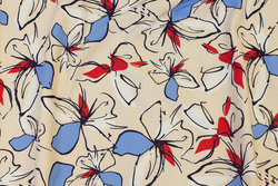 Creme-colored cotton-jersey with red and blue flowers