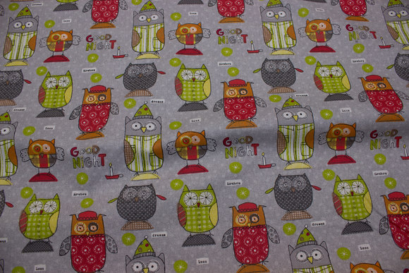 Cute owls on grey cotton