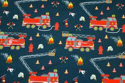 Dark dust-navy cotton-jersey with fire trucks