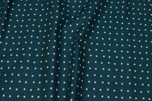 Dark petrol cotton with light 7 mm stars