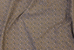 Dark sand-colored cotton-jersey with mini-dots in blue and yellow