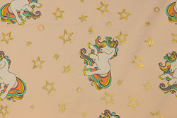 Delicate melon-colored cotton-jersey with unicorns and gold stars