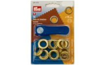 Eyelets 14 mm 10 pcs gold