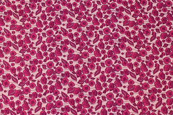 Firm, soft red cotton with dark pink flowers