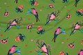 Green cotton-jersey with pink birds.