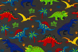 Grey-brown, light stretch-sweatshirt fabric with colorful dinosaurs
