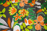 Grey cotton-jersey with orange flowers in retro-style