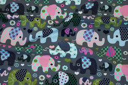 Grey cotton-jersey with retro-elephants