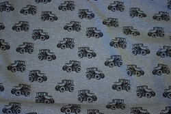 Grey-speckled winter-sweatshirt-fabric with black tractors and fur-back