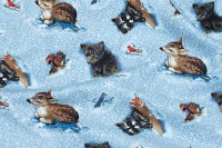 Light blue patchwork cotton with forest animals