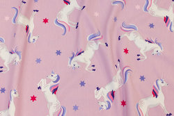 Light-purple cotton-jersey with ca. 7 cm big unicorns