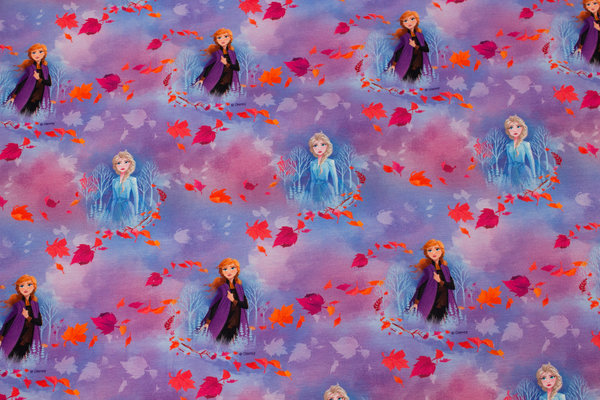 Light-purple and pink cotton-jersey with Anna and Elsa