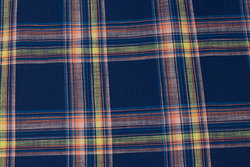 Light structure cotton in navy blue checks