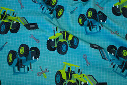 Light sweatshirt fabric in jade-green with tractors