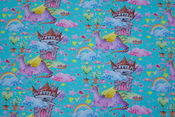Light turqoise cotton-jersey with dragons, castles and rainbows