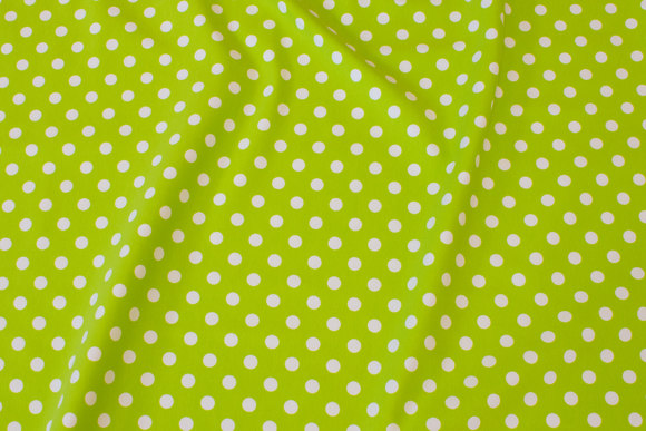 Lime-green cotton-jersey with white 8 mm dots