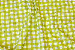 Lime and white cotton-jersey with ca. 1 cm checks
