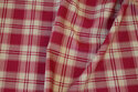 Medium-thickness cotton and polyester in red and sand-colored