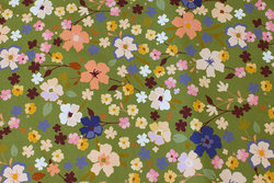 Moss-green cotton-jersey with flowers