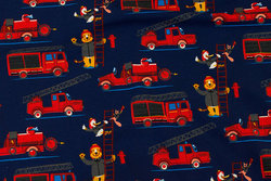 Navy cotton-jersey with fire trucks